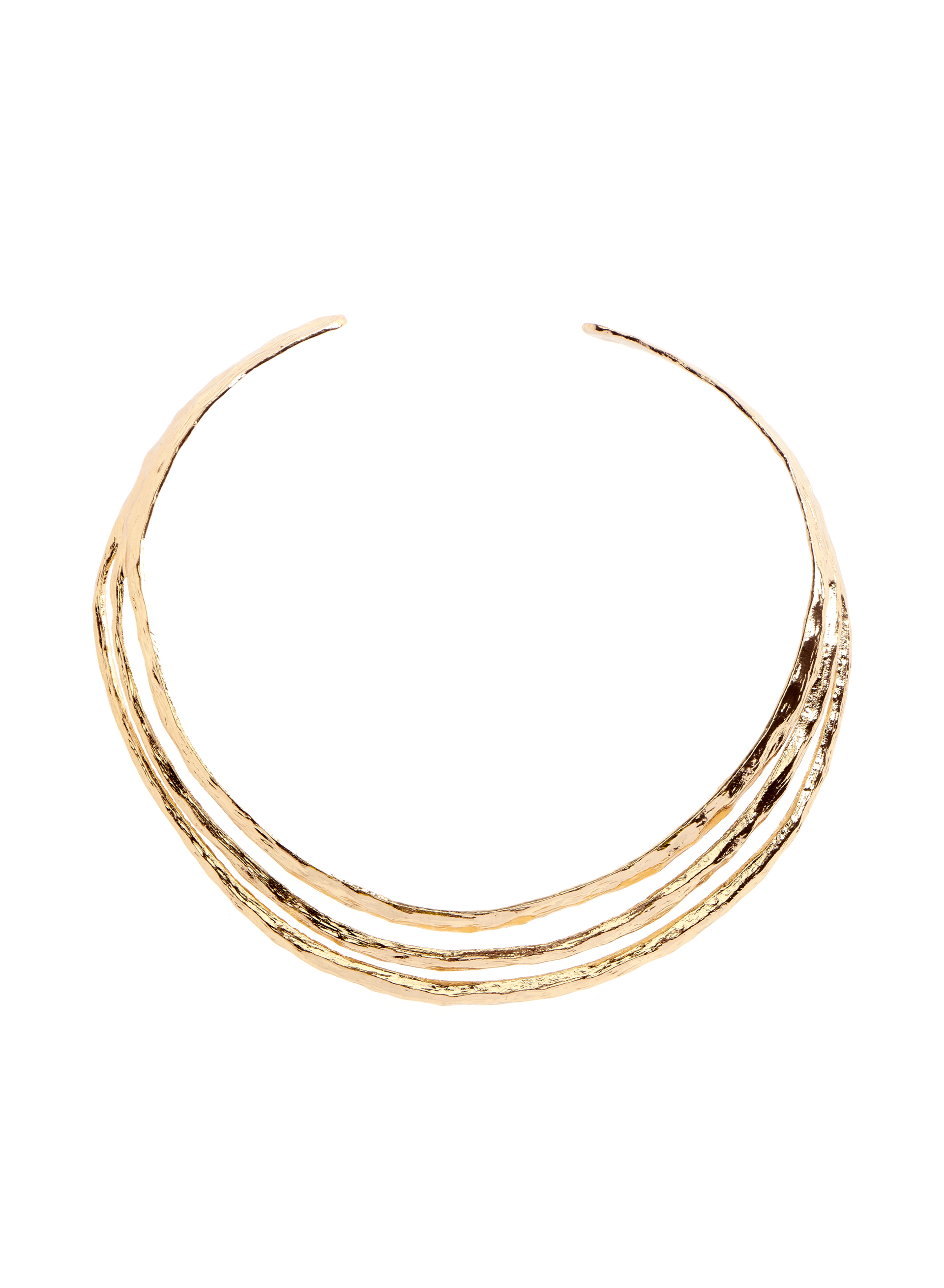 Three Row Cuff Necklace , Gold, hi-res