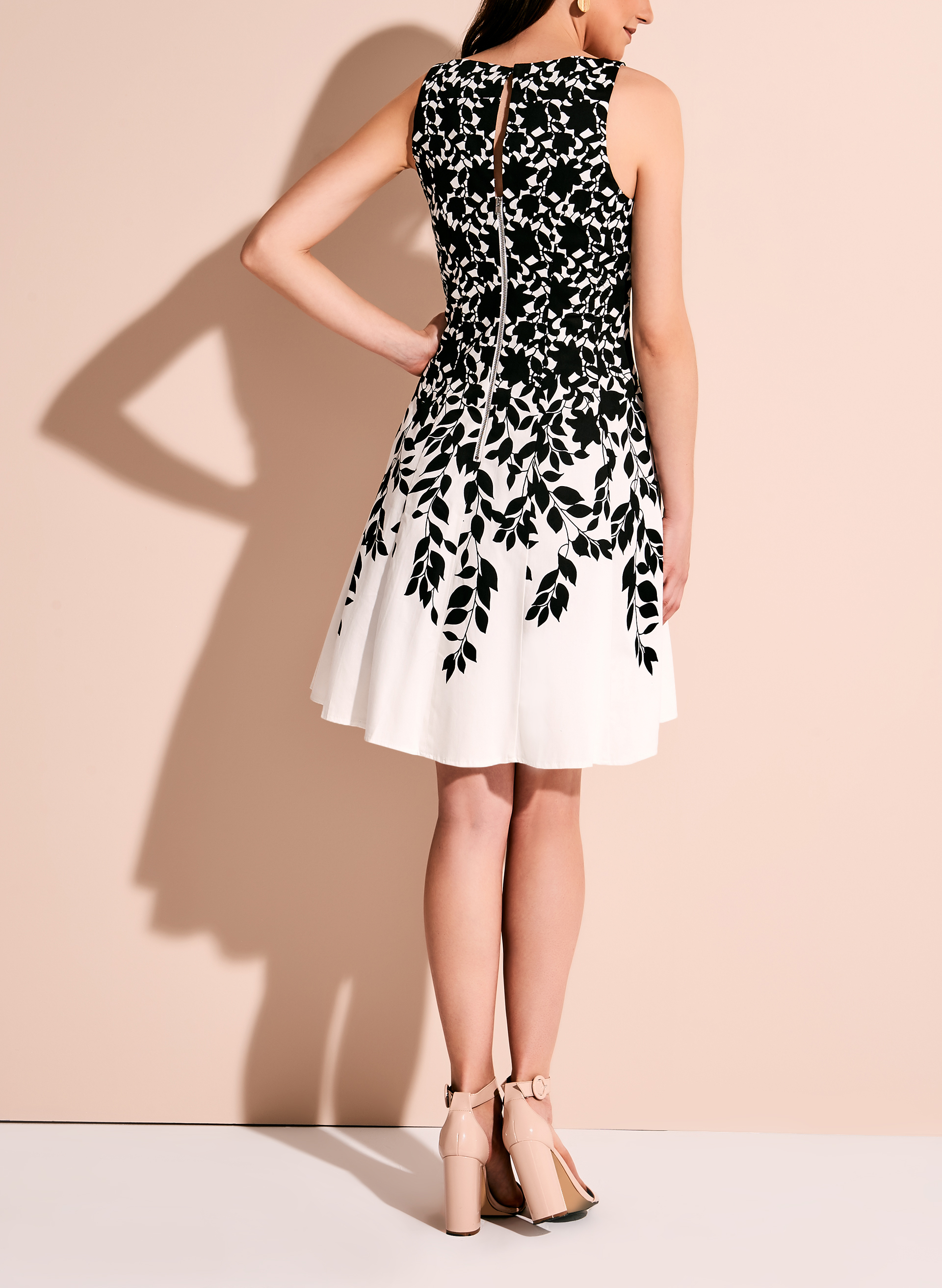 Contrast Print Fit & Flare Dress, Black, hi-res