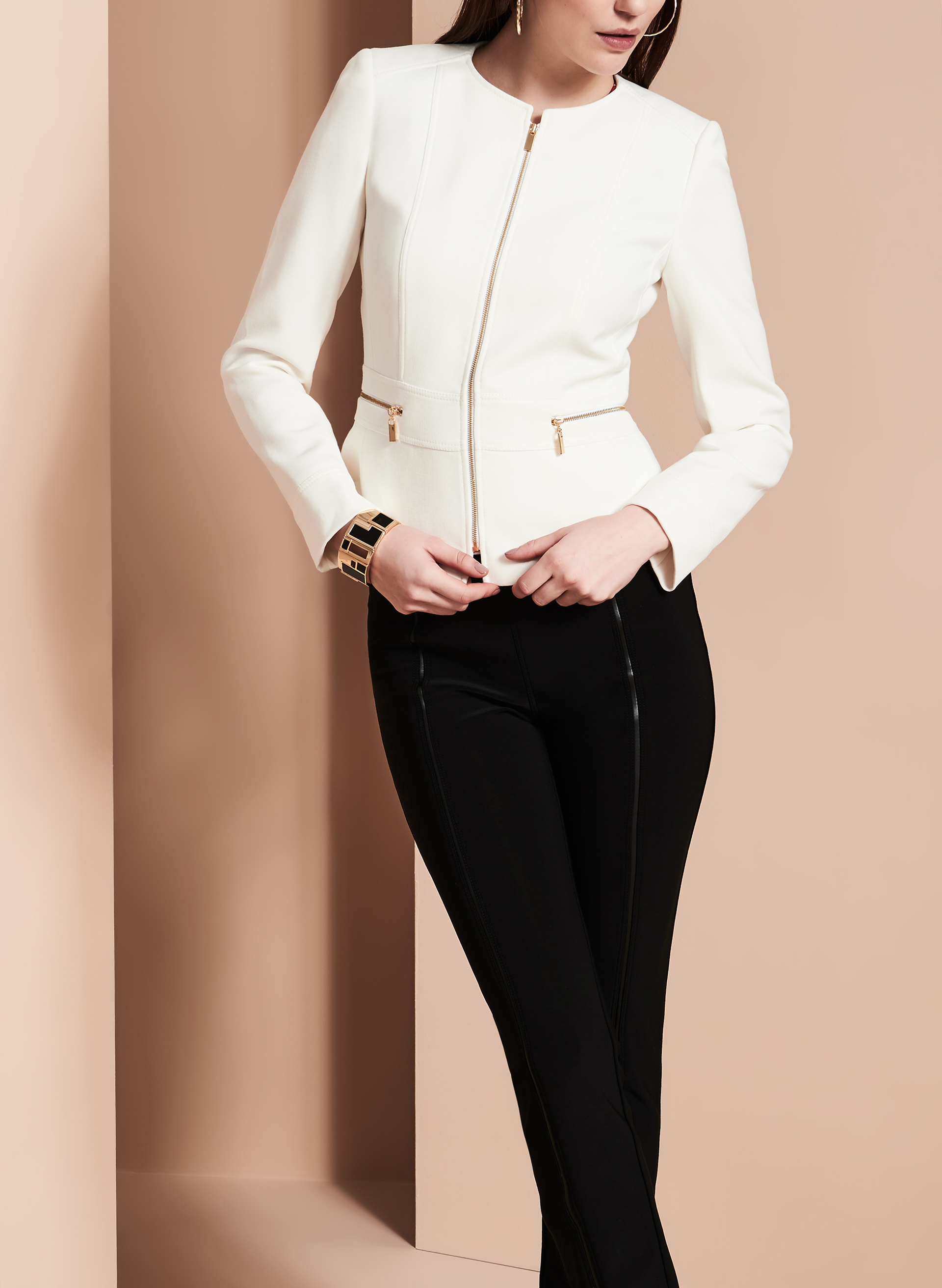Tahari Zipper Trim Jacket, Grey, hi-res