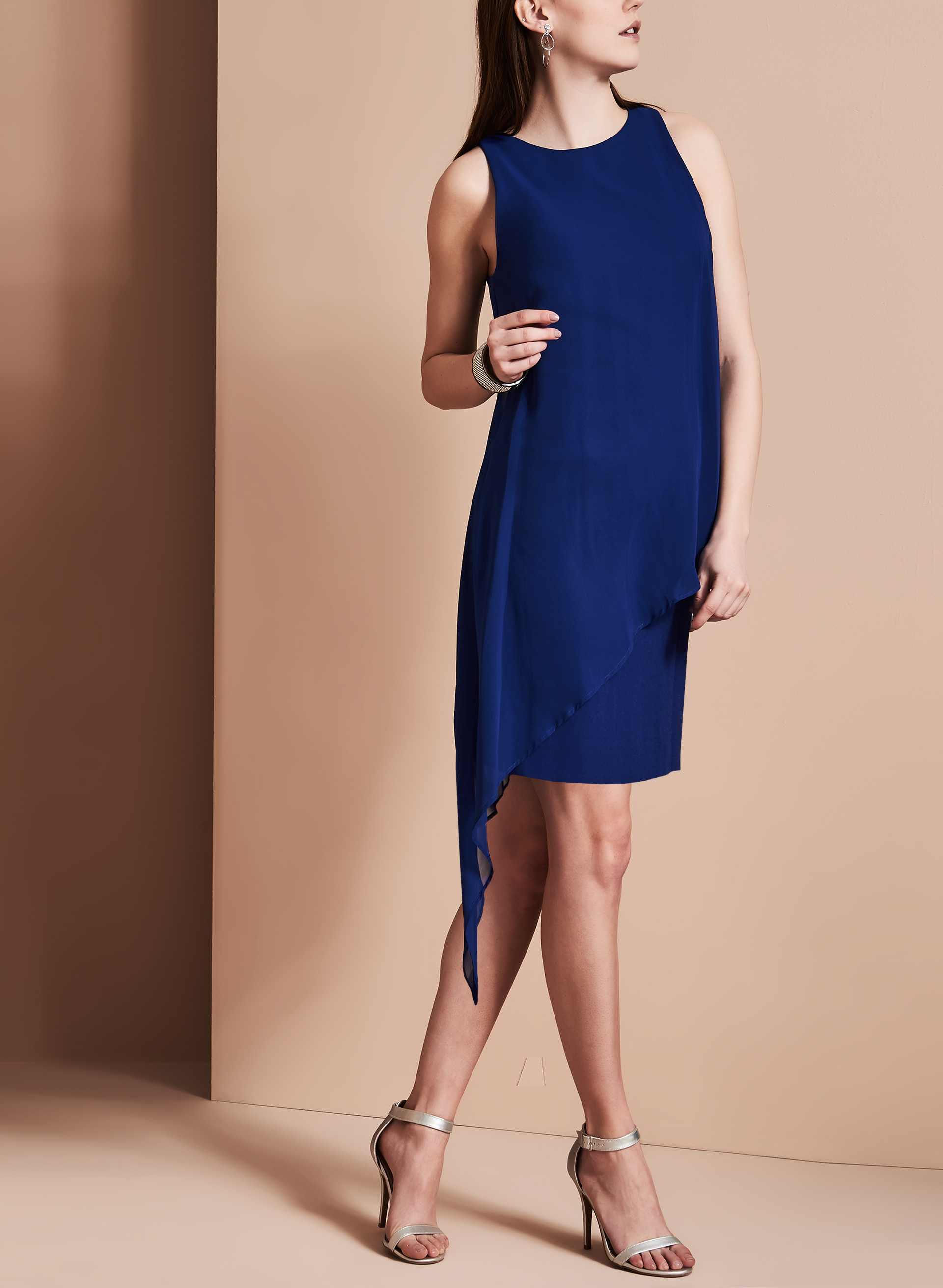 Tahari Asymmetrical Chiffon Dress, Blue, hi-res