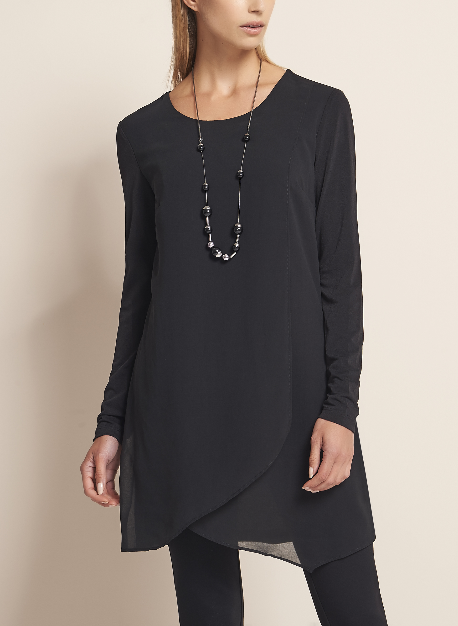 Linea Domani Long Sleeve Tunic , Black, hi-res