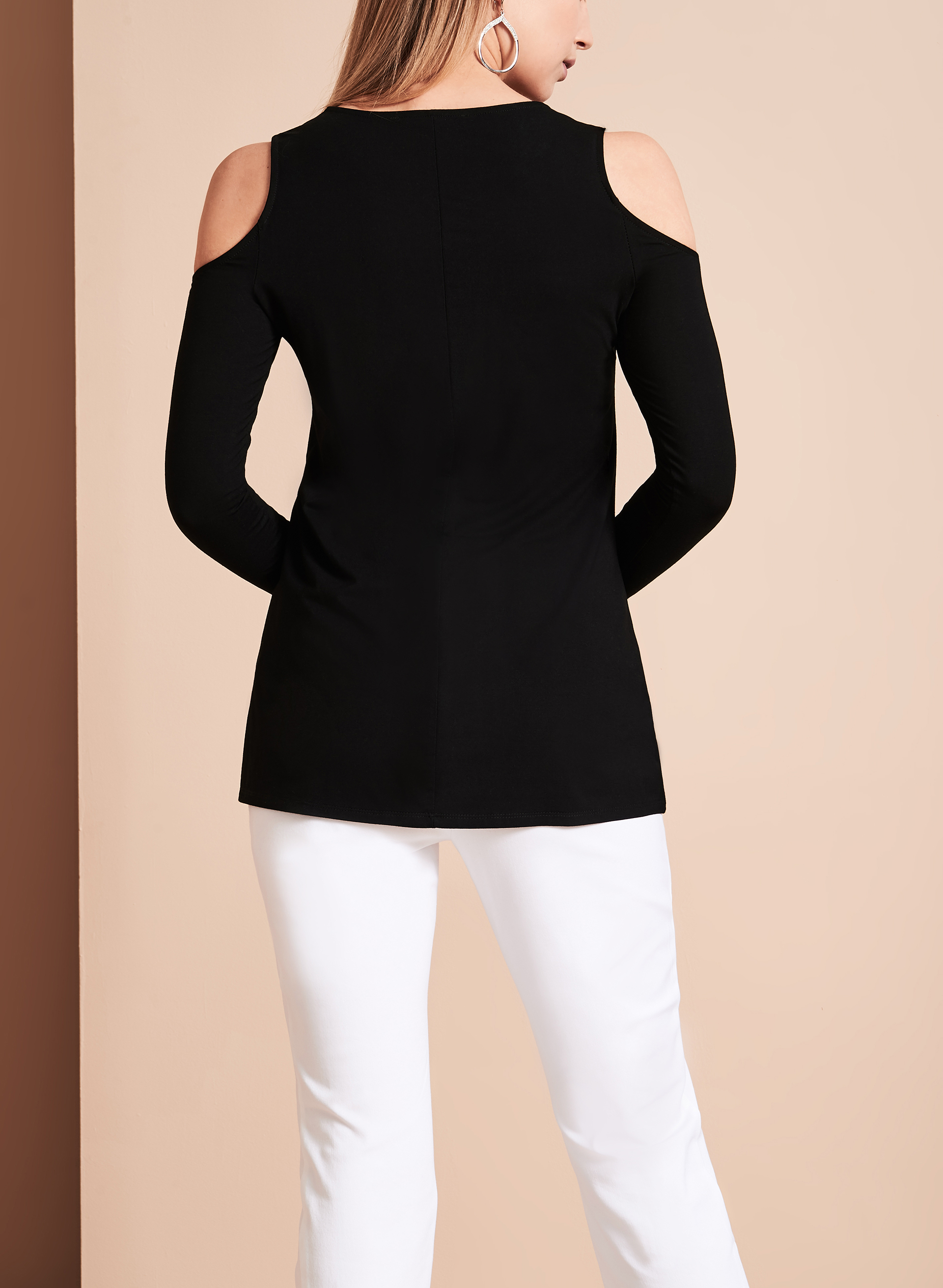 Long Sleeve Cold Shoulder Top, Black, hi-res