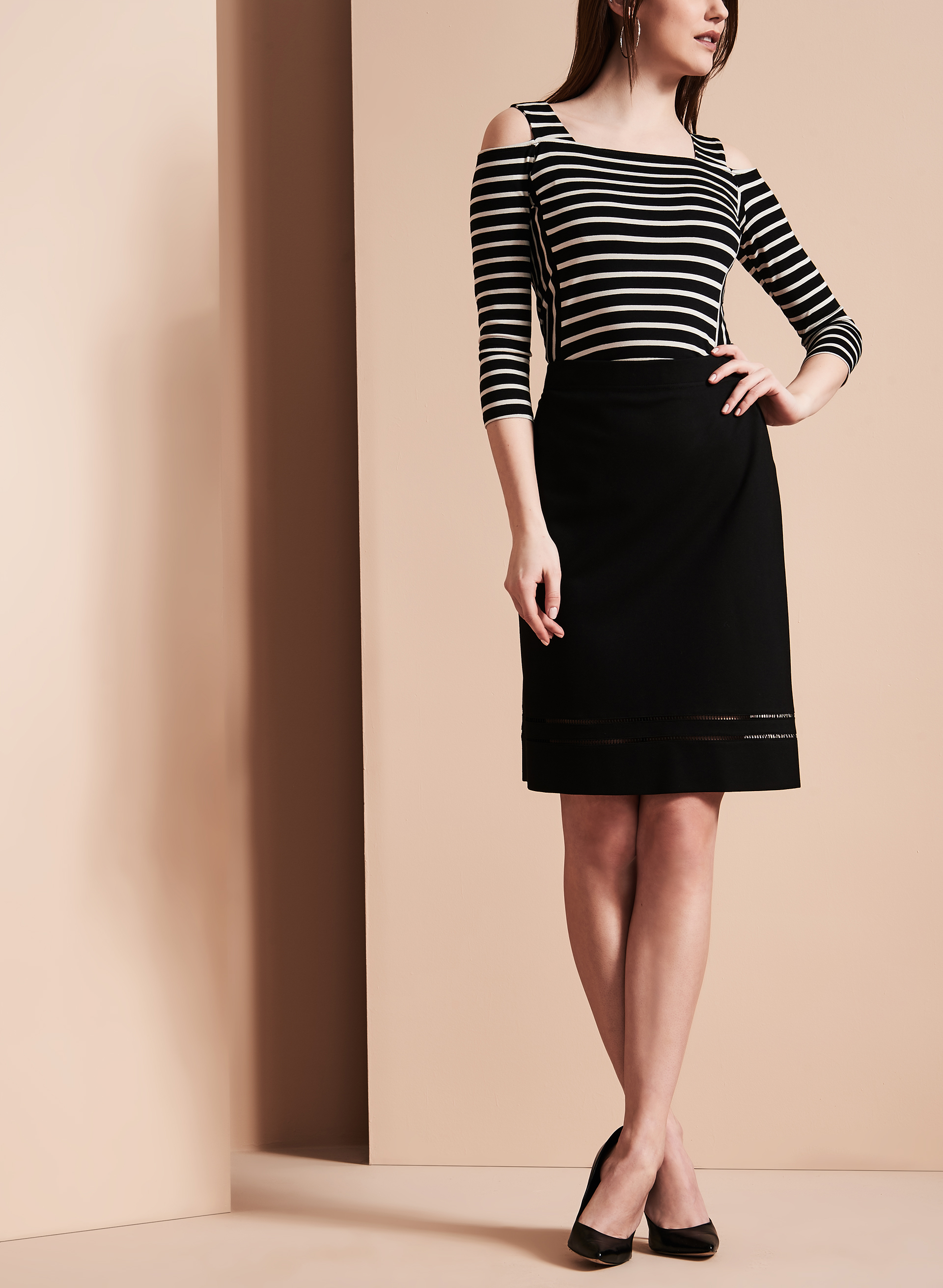 Embroidered Trim Pencil Skirt, Black, hi-res