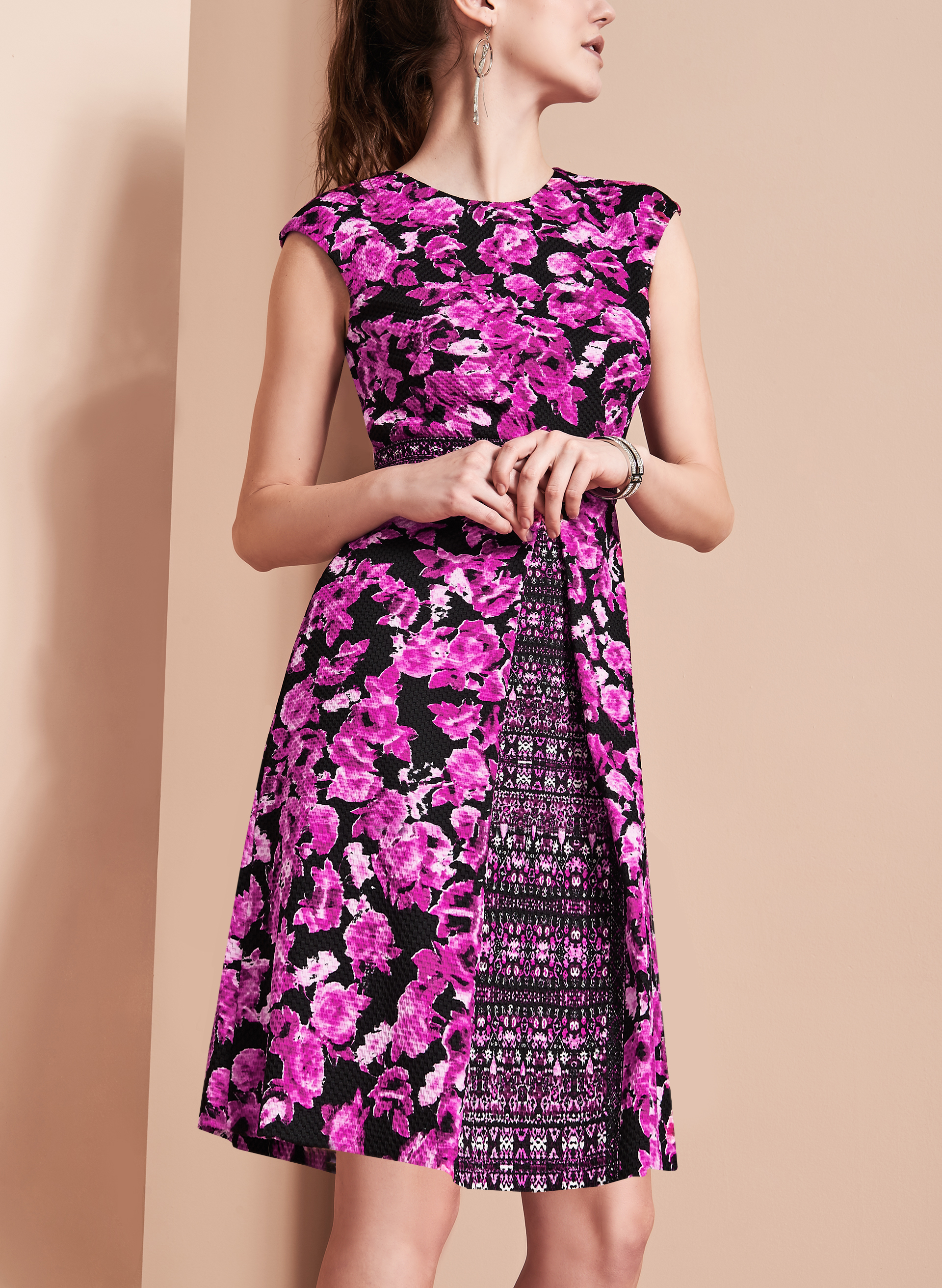 Maggy London Floral Fit & Flare Dress, Pink, hi-res