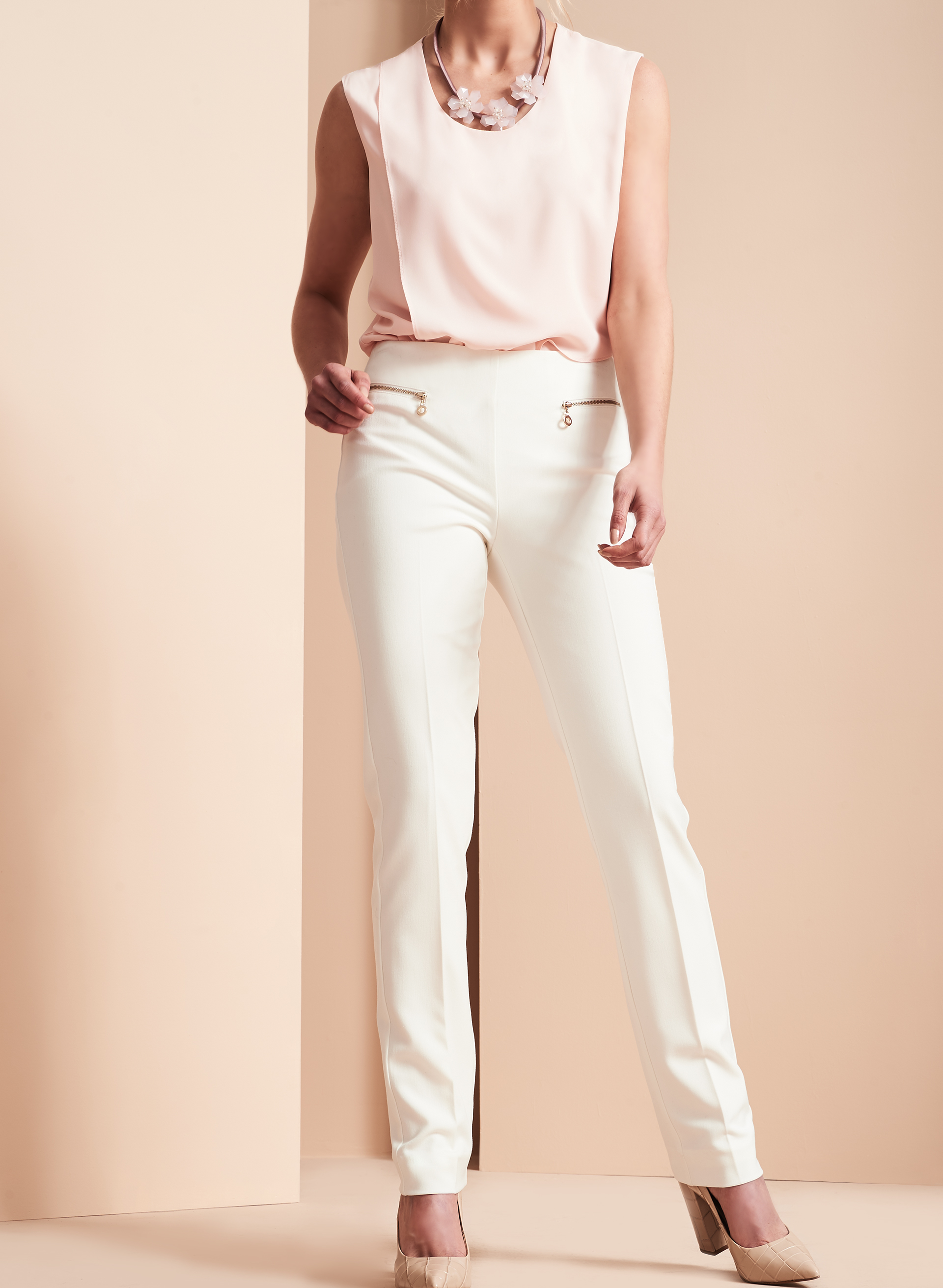 Bi-Stretch Slim Leg Pants , Off White, hi-res