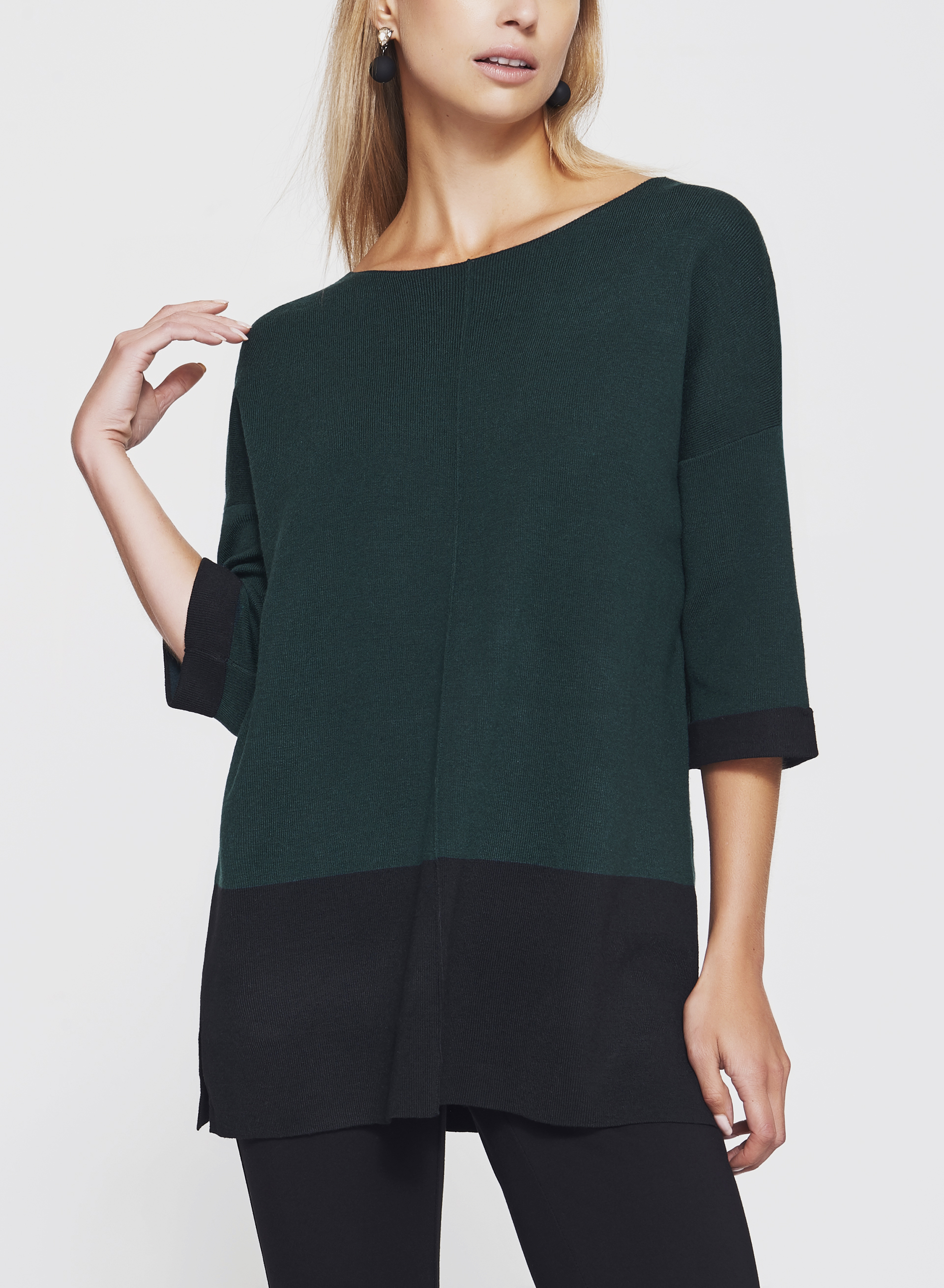 Colour Block Tunic Sweater, Green, hi-res
