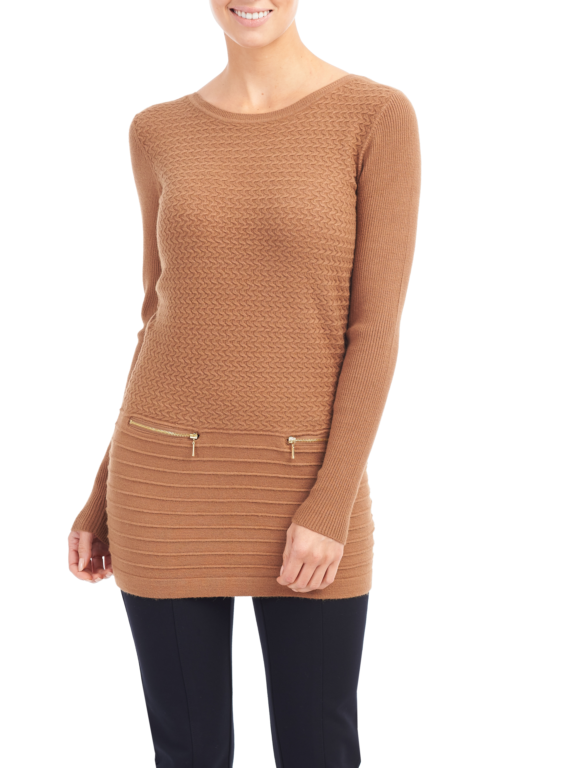 Long Sleeve Mixed Stitch Tunic, Brown, hi-res