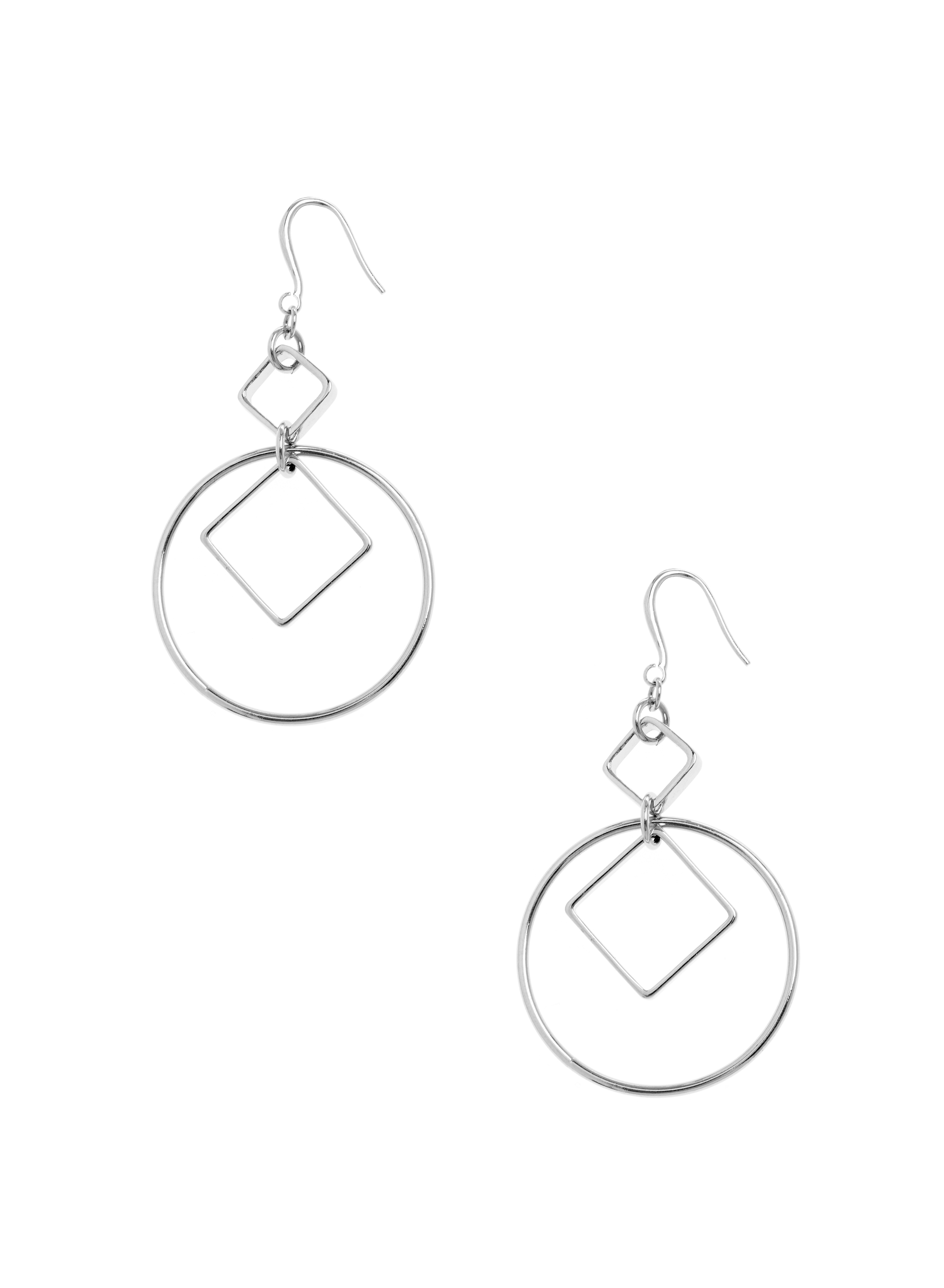 Geometric Dangle Earrings , Silver, hi-res