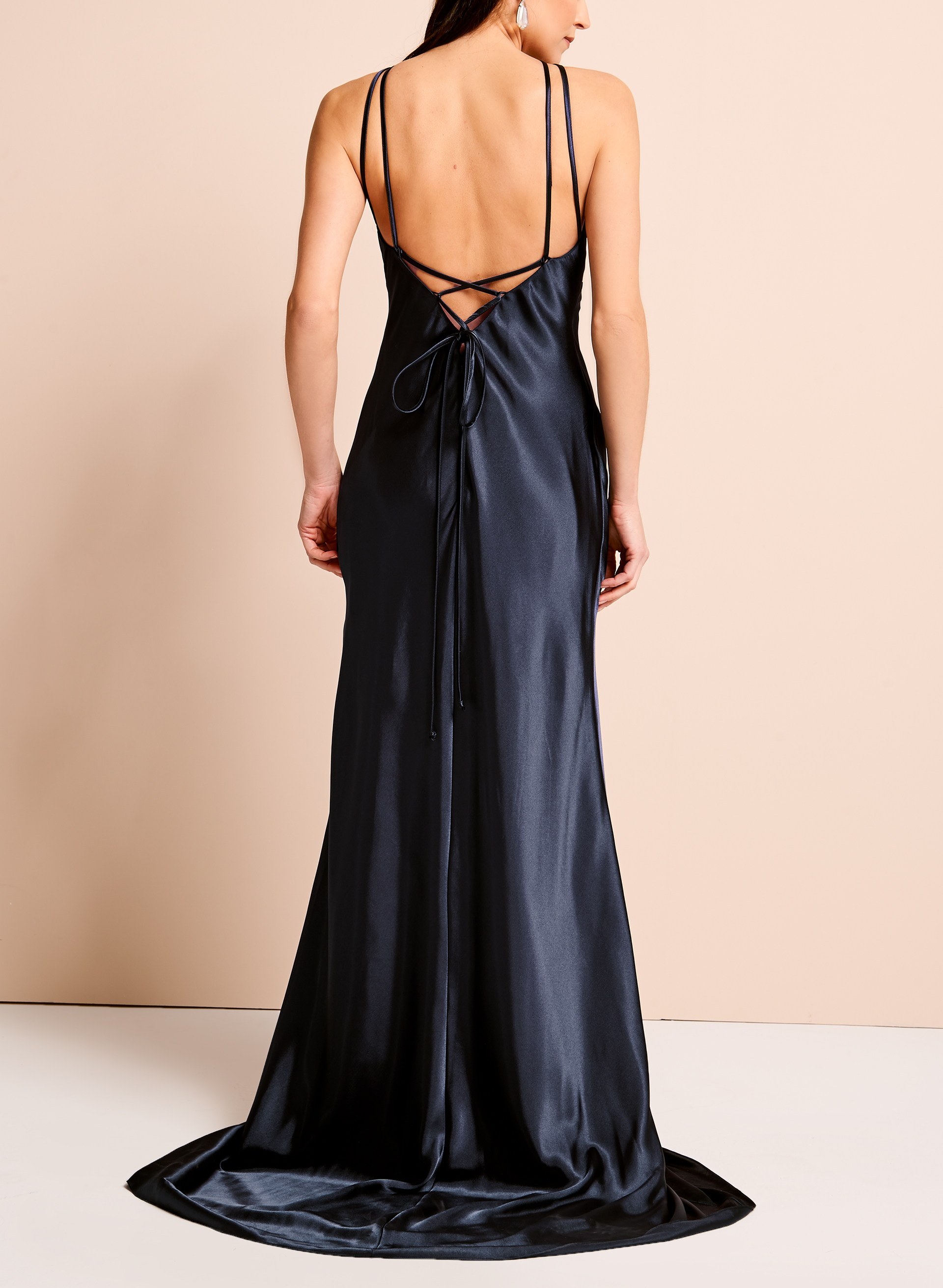 Strappy Halter Neck Gown, Blue, hi-res