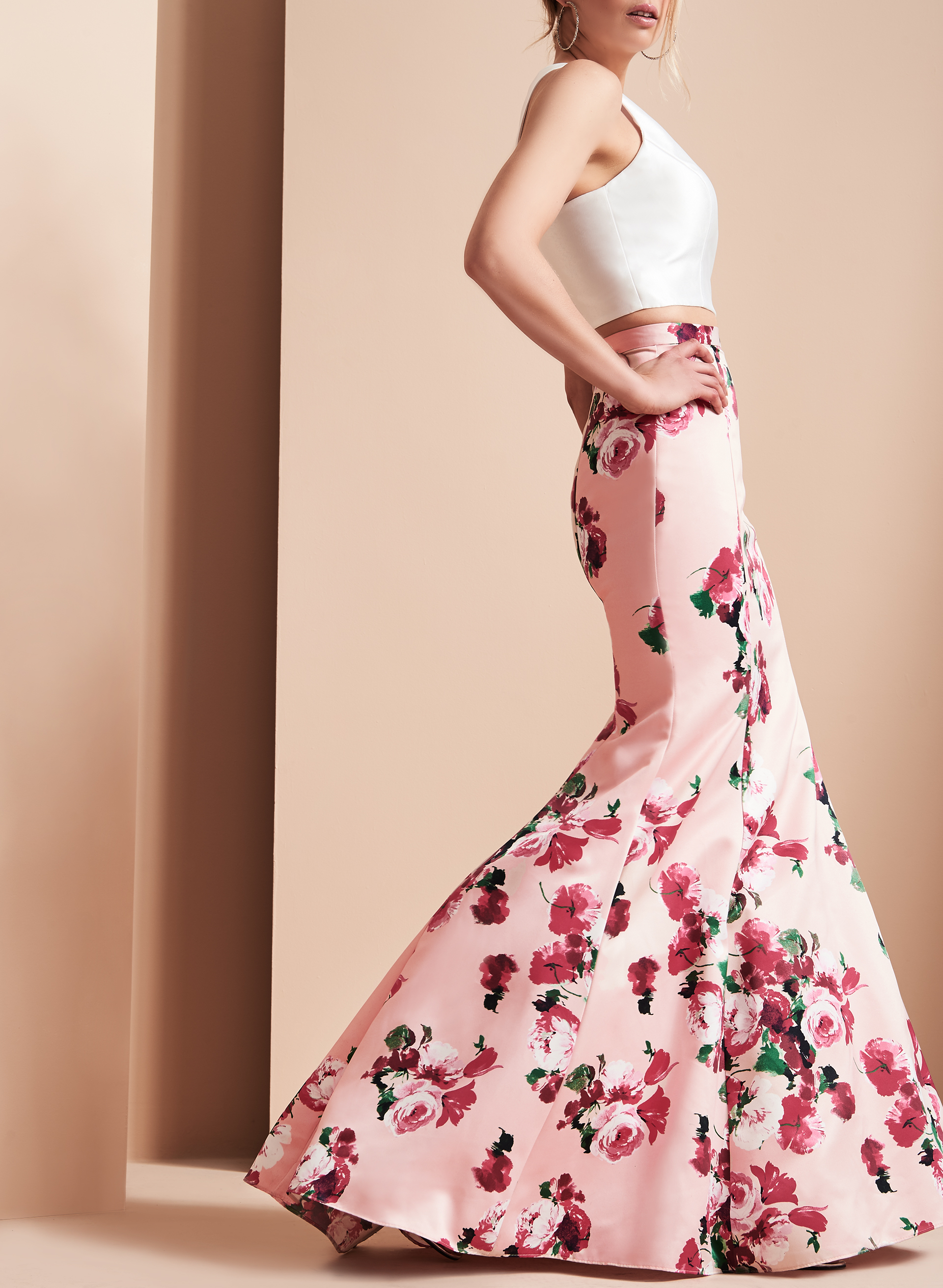 Two Piece Floral Print Gown , Pink, hi-res