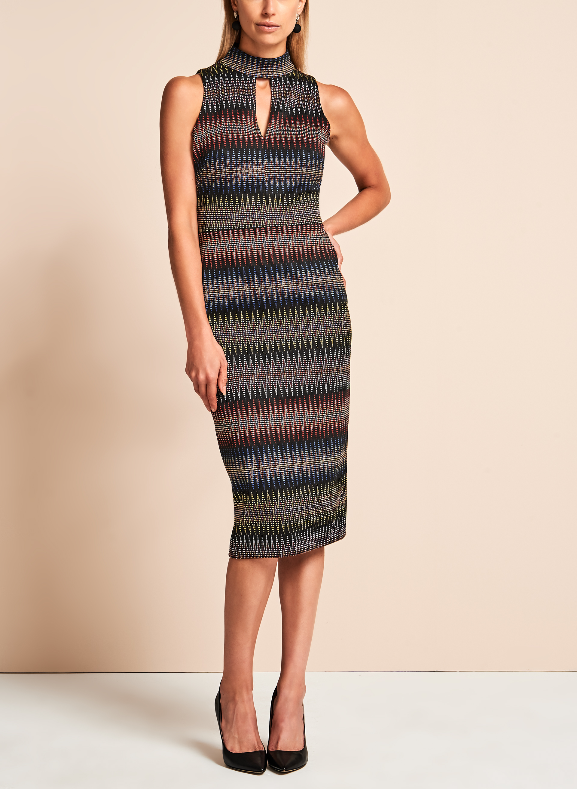 Maggy London Jacquard Zig Zag Print Dress, Multi, hi-res
