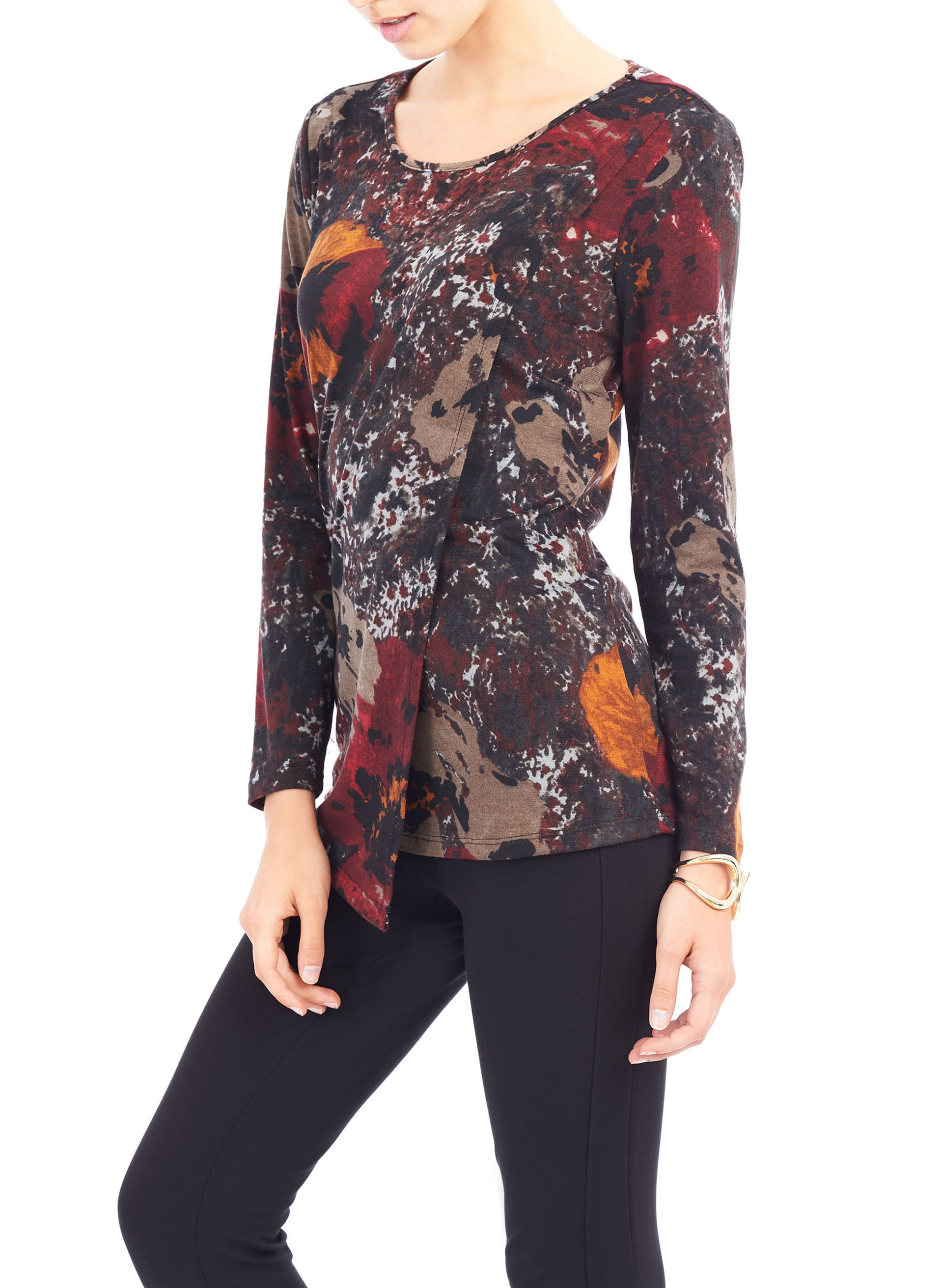 Linea Domani Printed Tunic Top, Red, hi-res