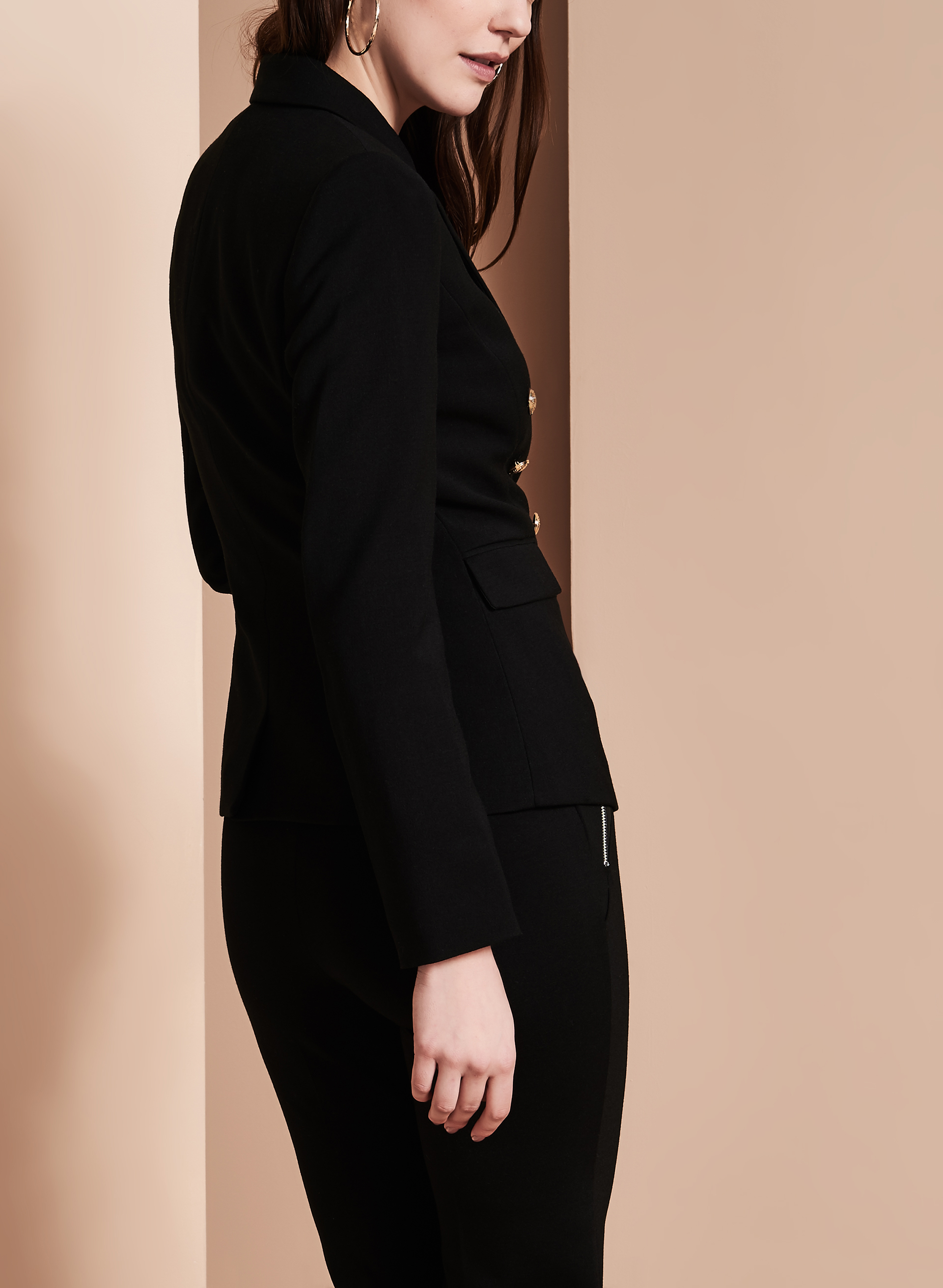 Tahari Notch Collar Blazer, Black, hi-res