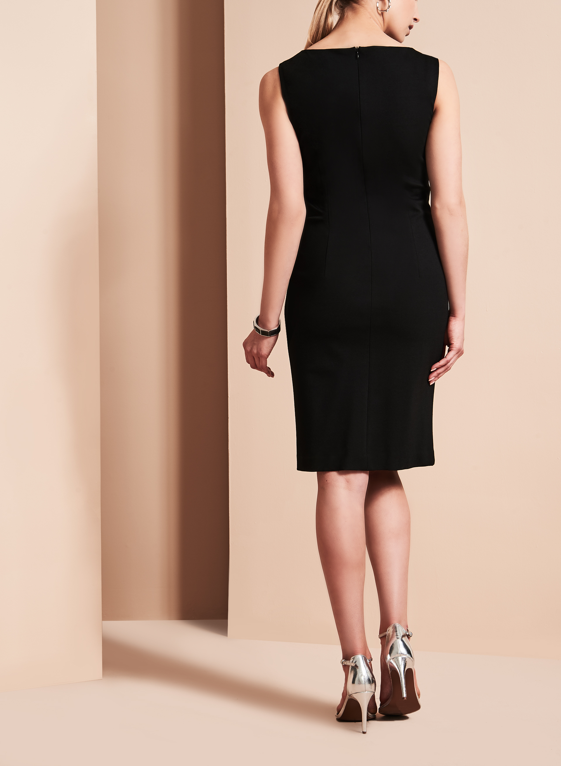 Sleeveless Notch Neckline Sheath Dress, Black, hi-res