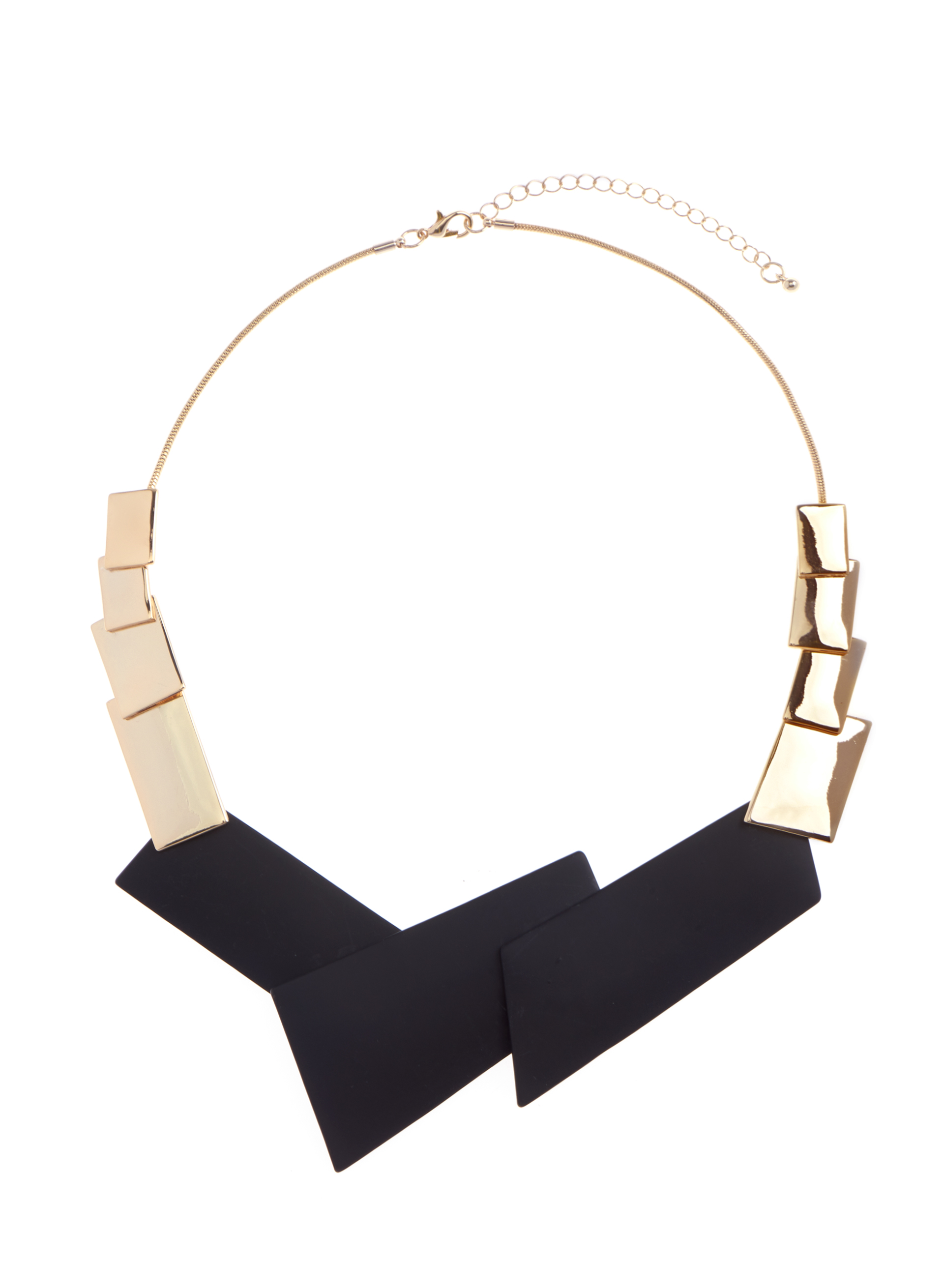 Geometric Overlapping Bib Necklace, Black, hi-res