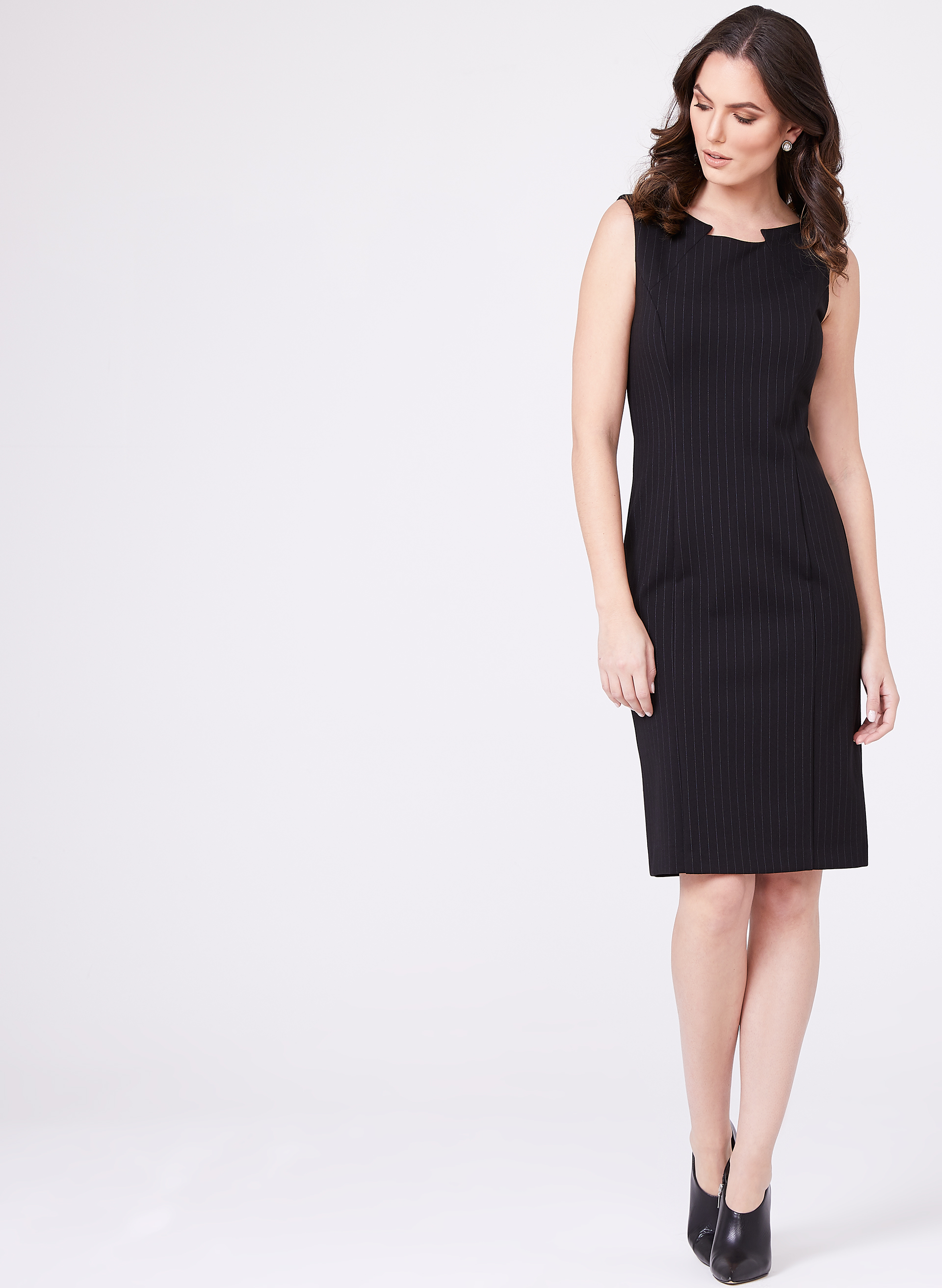 Notch Collar Sheath Dress, Black, hi-res