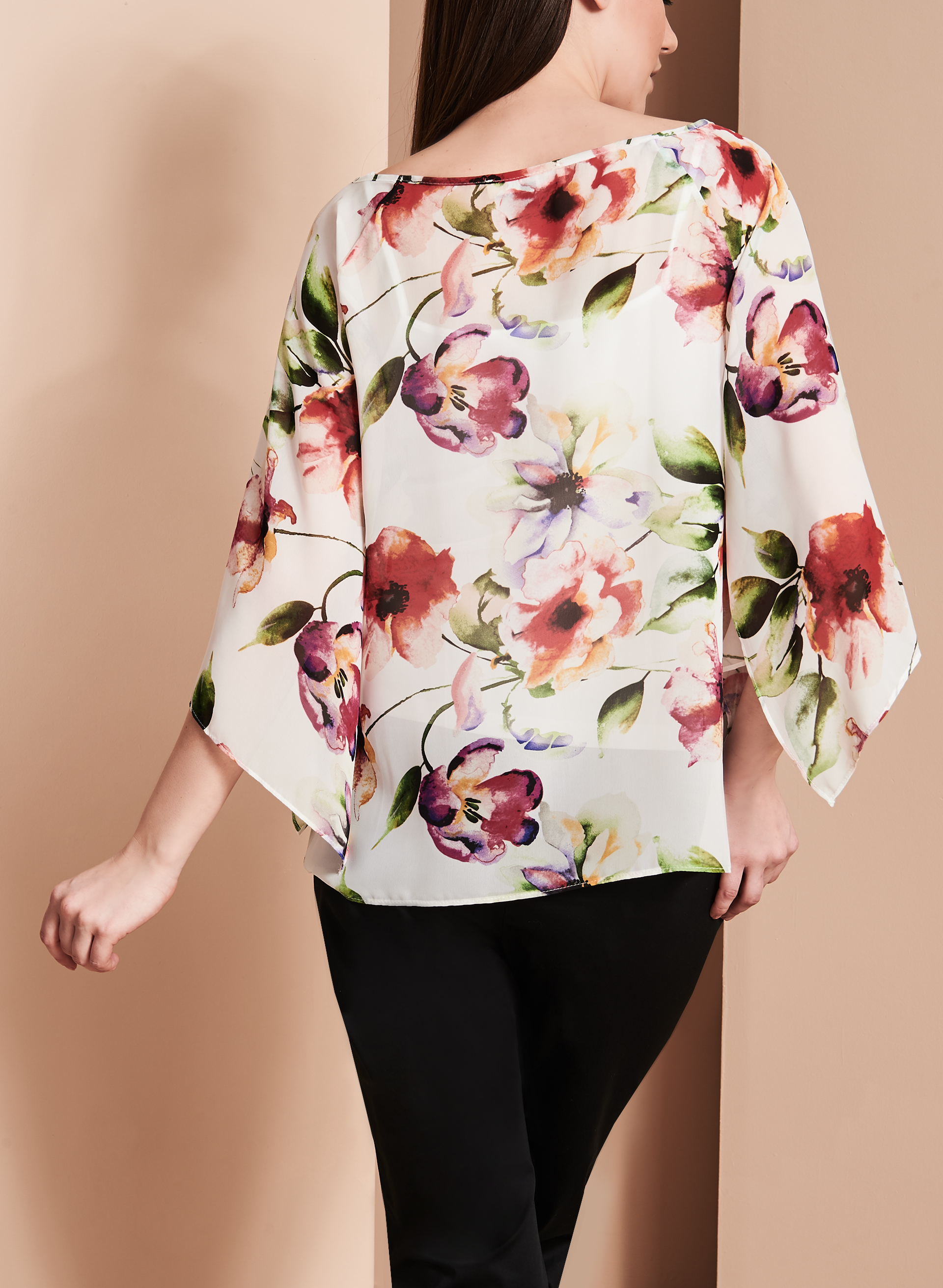 Angel Sleeve Floral Print Blouse, White, hi-res