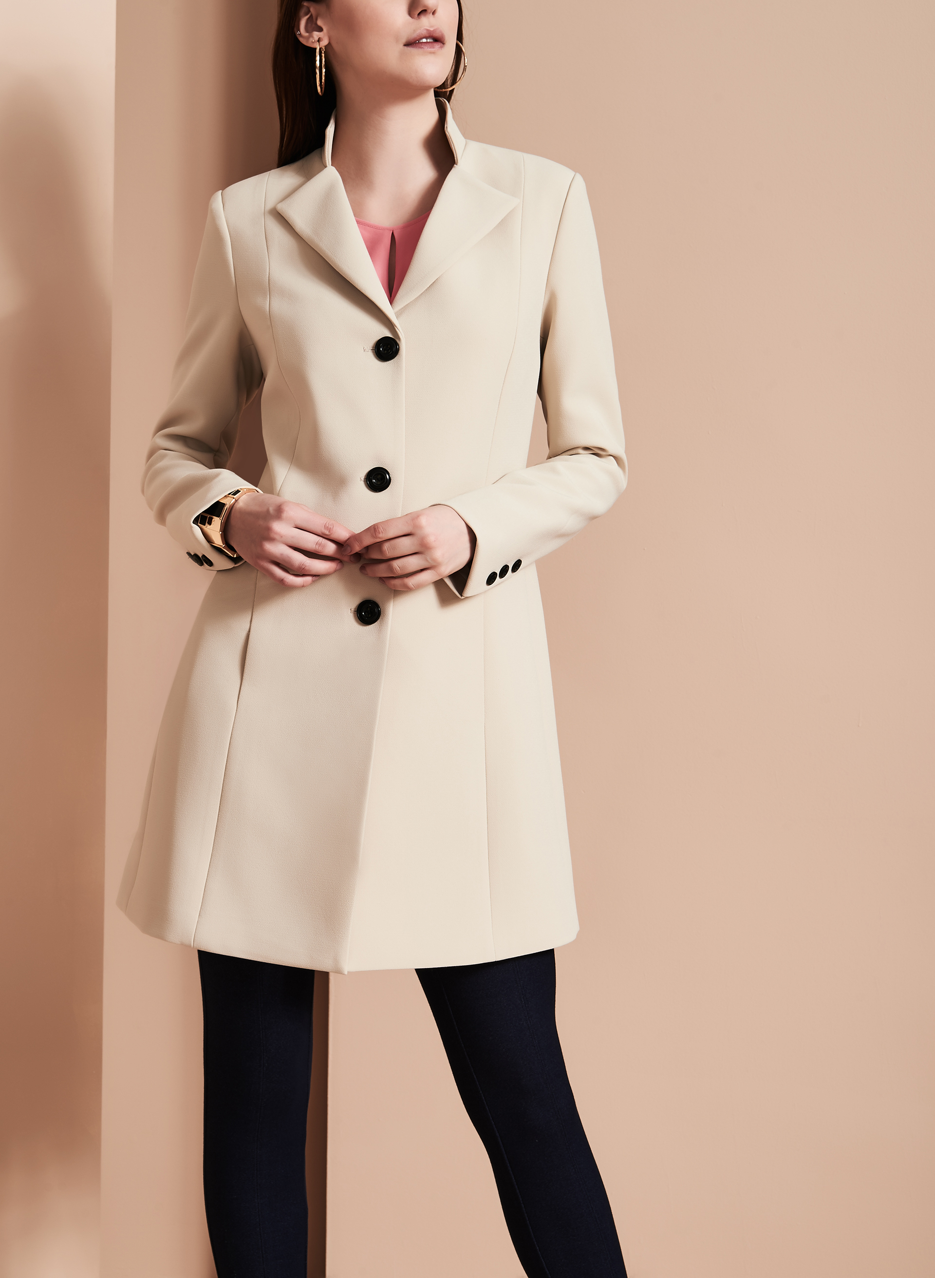 Nuage Coachman Collar Bankers Coat, Brown, hi-res