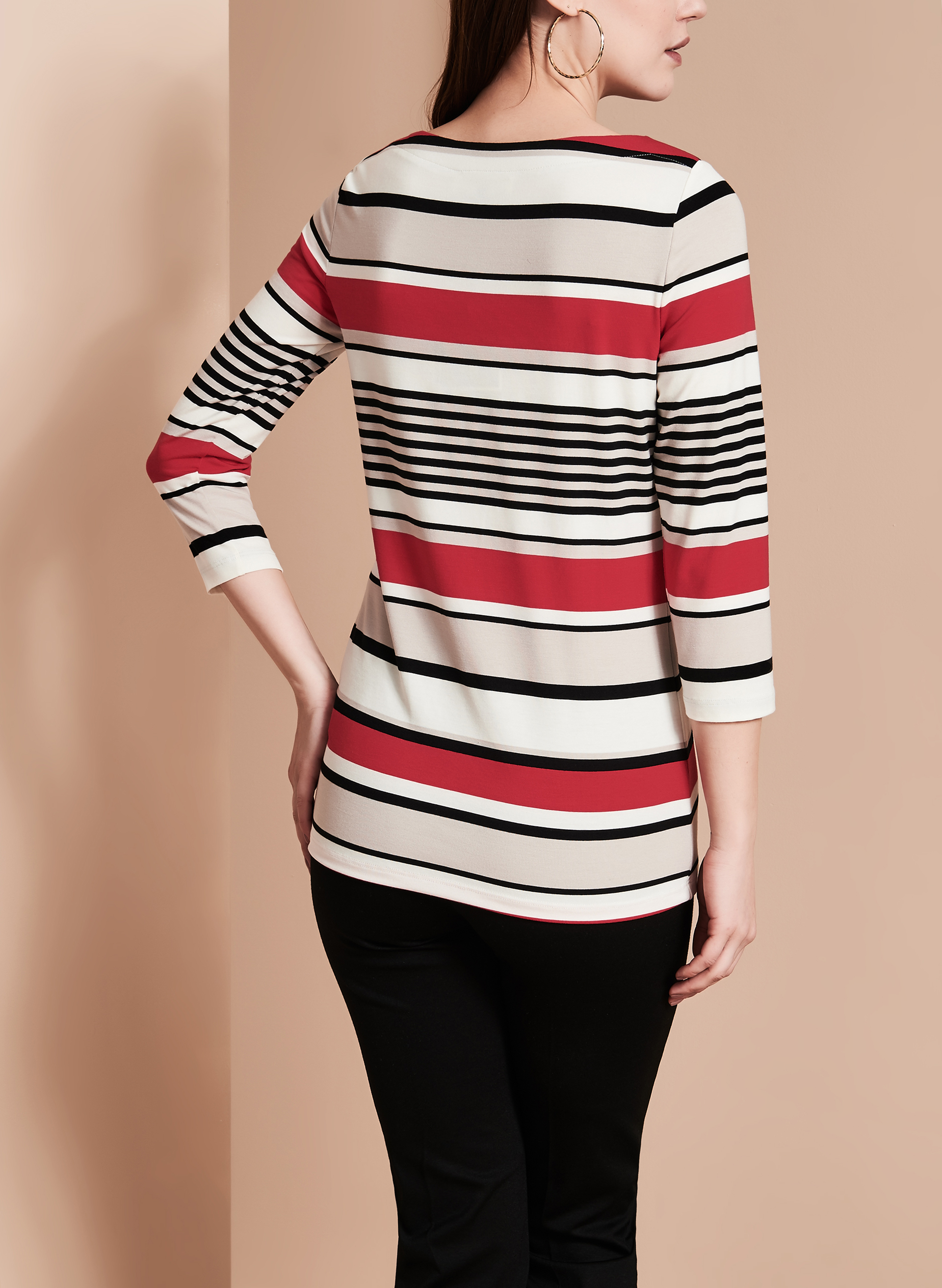 3/4 Sleeve Stripe Print Top, Red, hi-res