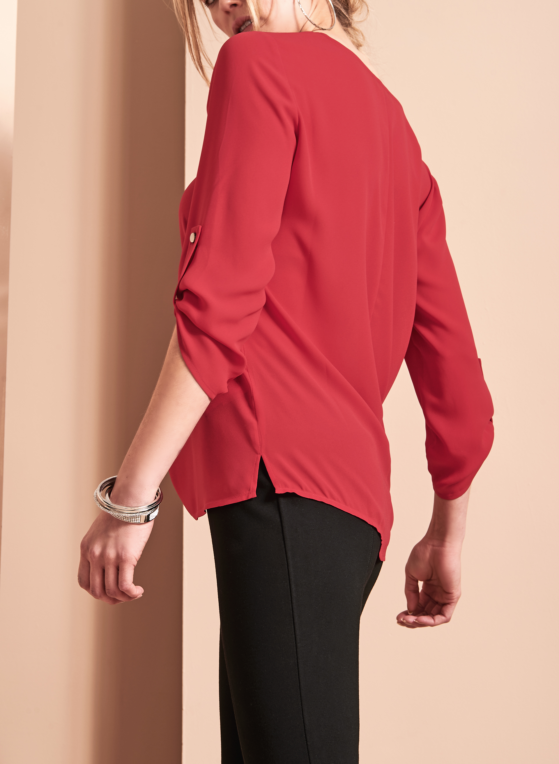 V-Neck Tunic Blouse , Red, hi-res
