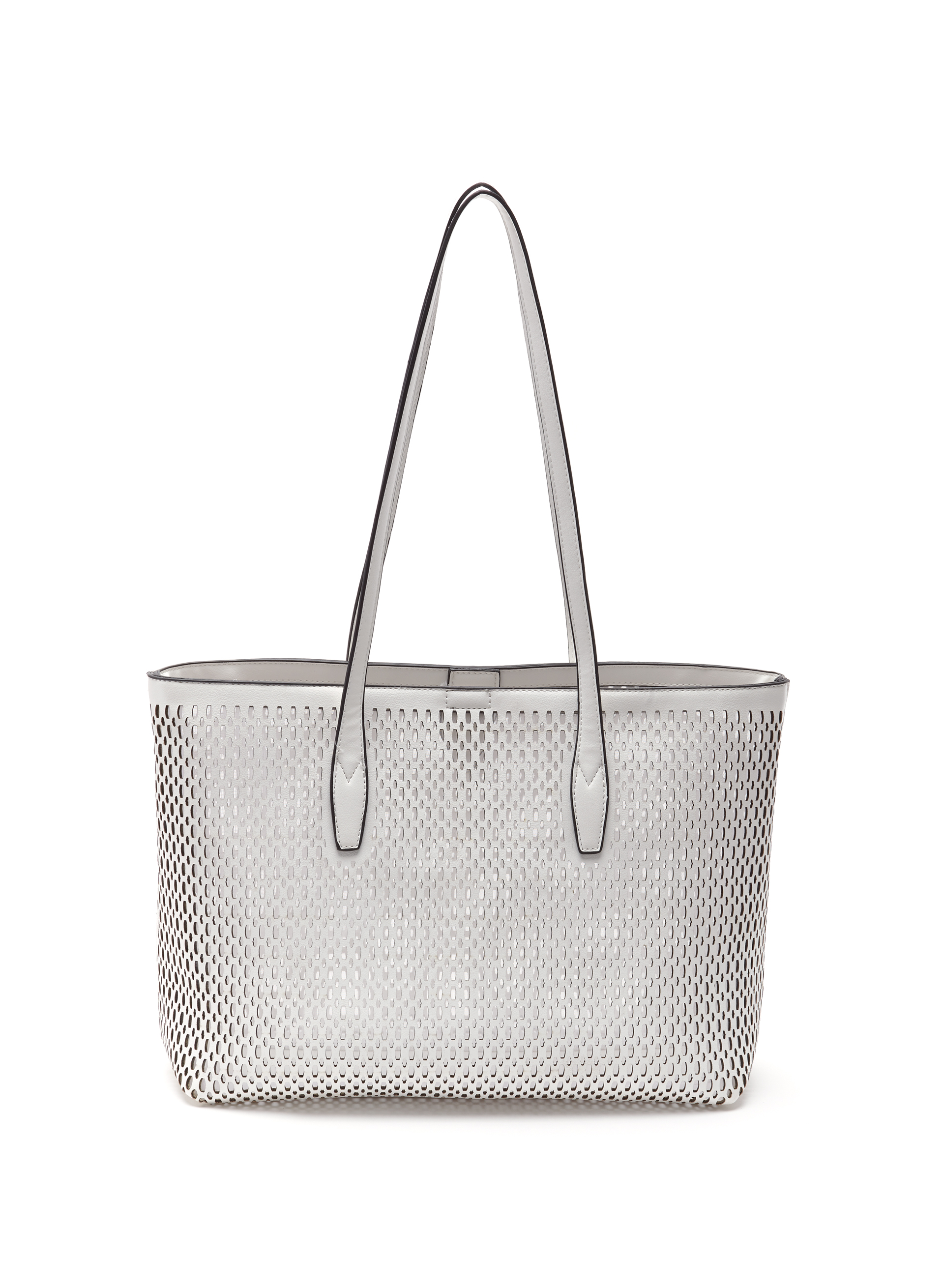 Perforated Studded Tote Bag, White, hi-res