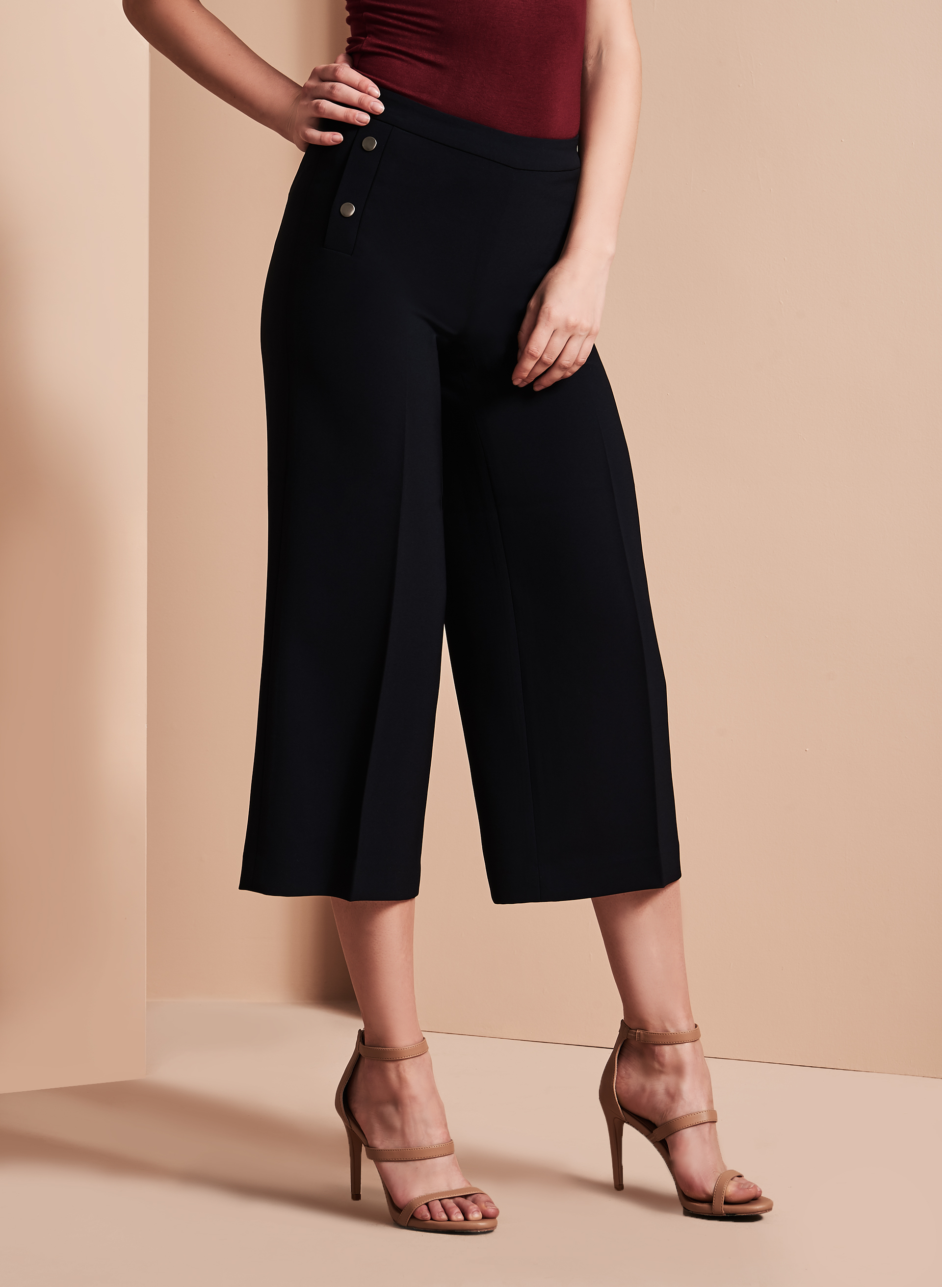 Wide Leg Culotte Pants , Blue, hi-res