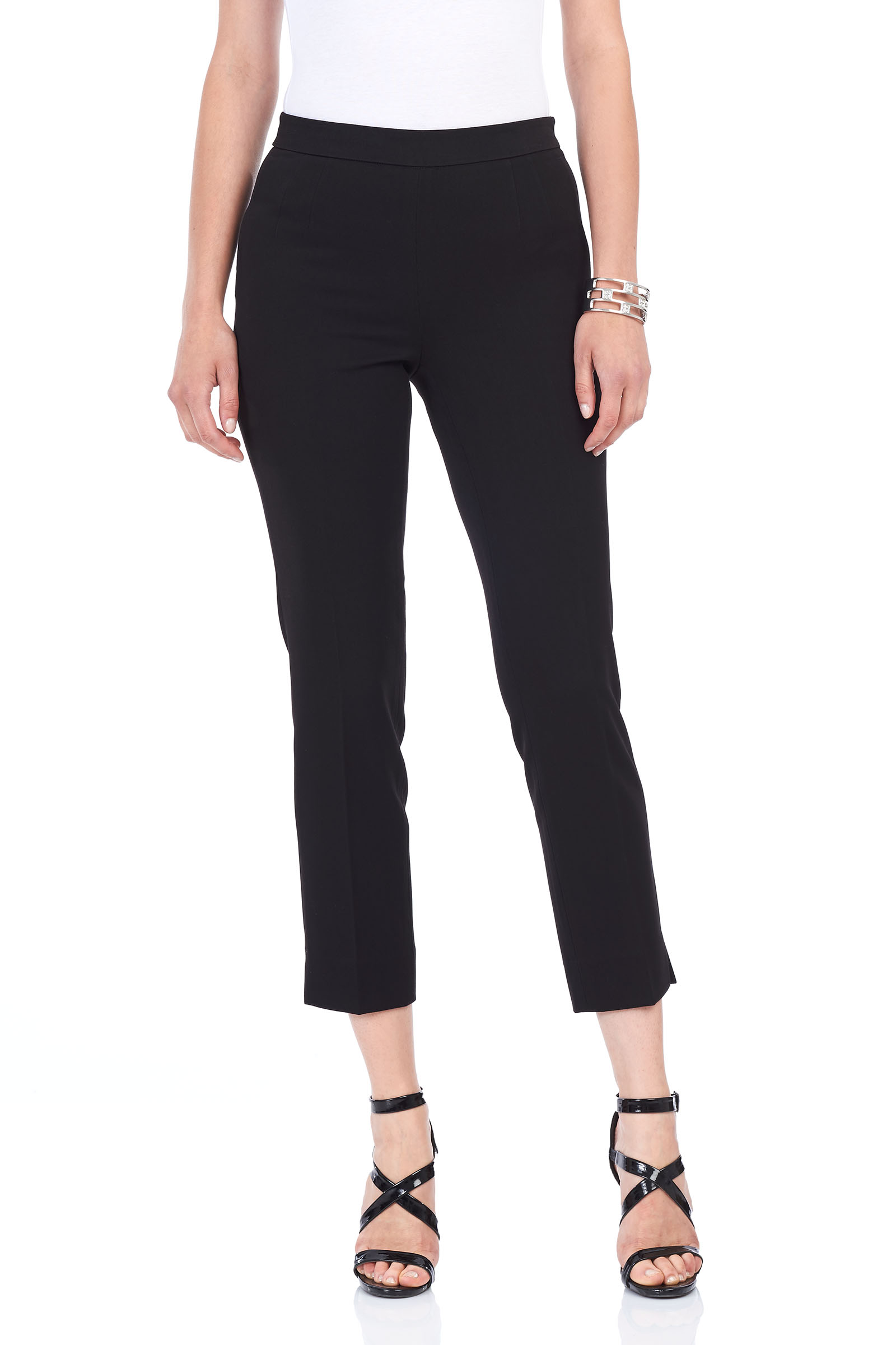 Slim Leg Capri Pants , Black, hi-res
