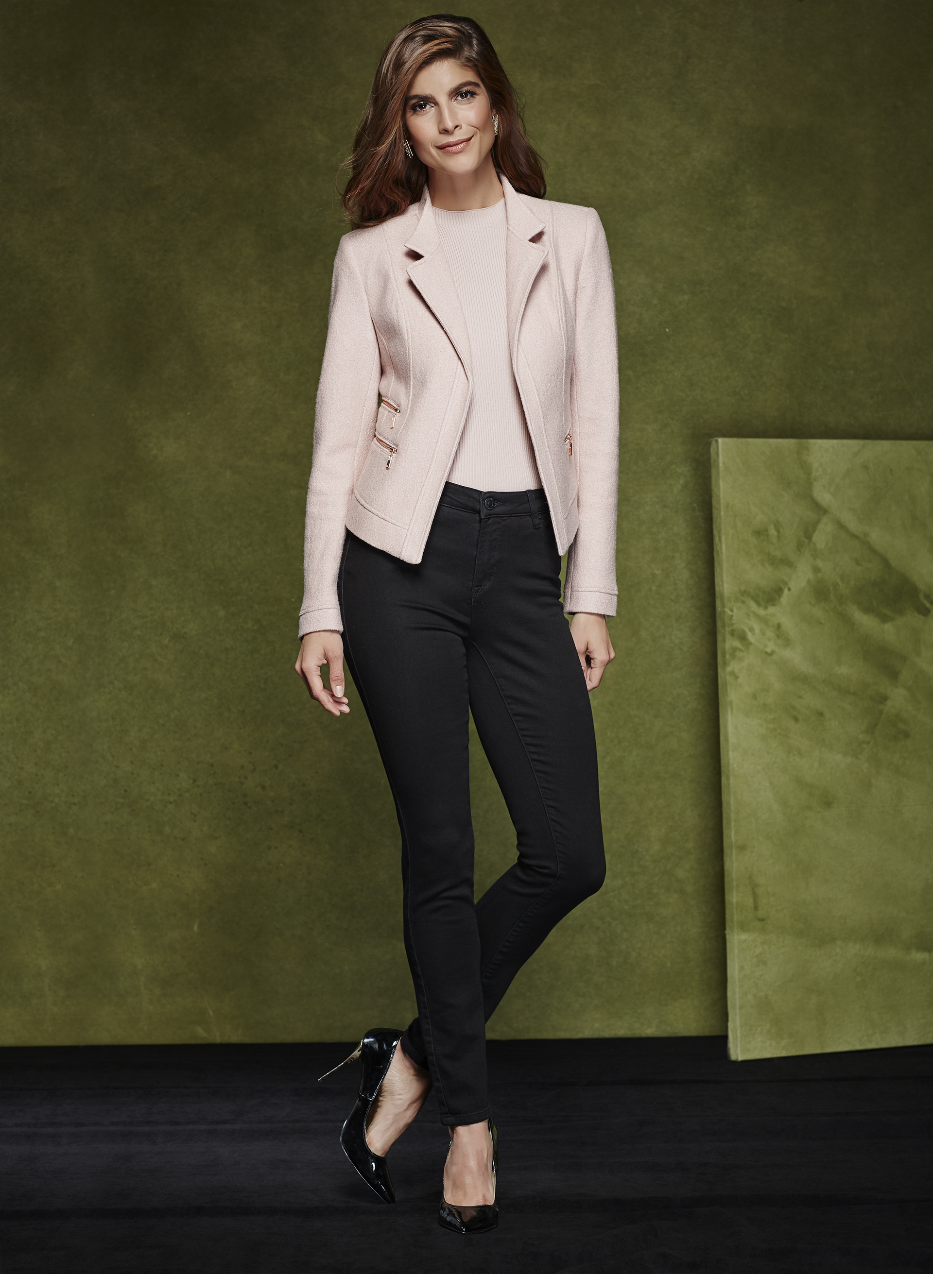 Cropped Zipper Trim Wool Blazer, Off White, hi-res