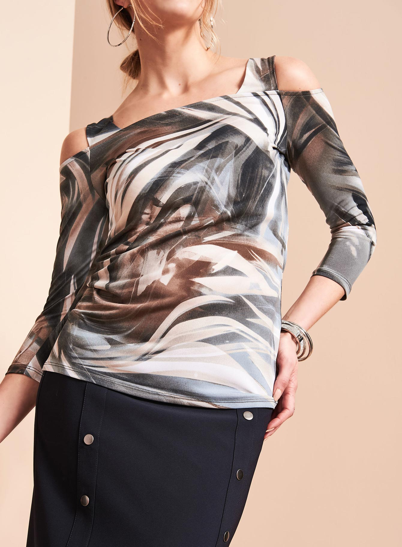 Abstract Print Cold Shoulder Top