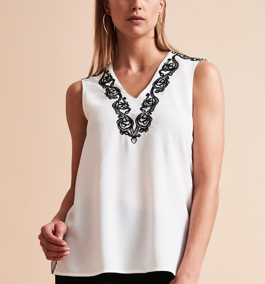 Contrast Embroidery V-Neck Blouse