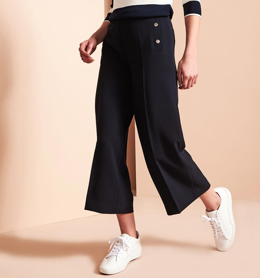 Button Trim Culotte Pants