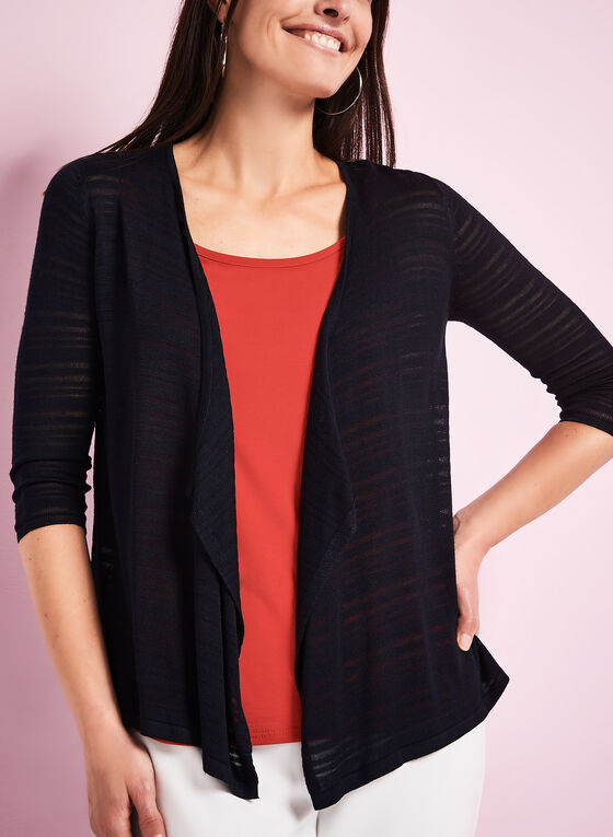 3/4 Sleeve Knit Cardigan, Blue, hi-res