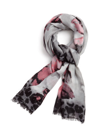 Floral Animal Print Scarf, , hi-res