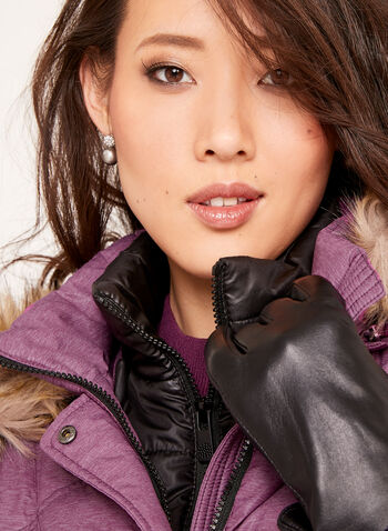 Removable Faux Fur Quilted Down Coat , , hi-res