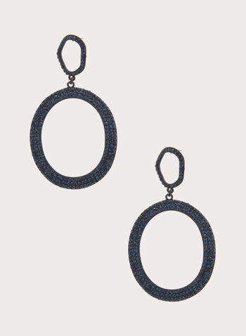 Tiered Crystal Hoop Earrings, , hi-res