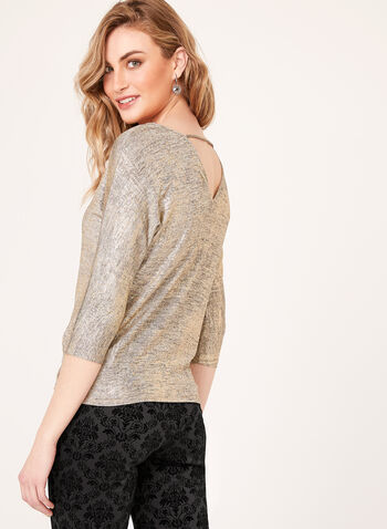 Metallic 3/4 Dolman Sleeve Blouse, , hi-res