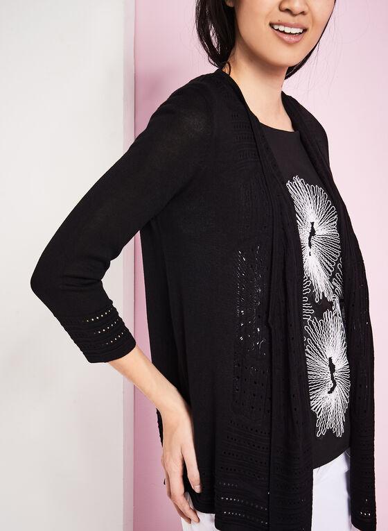 3/4 Sleeve Pointelle Knit Cardigan, Black, hi-res