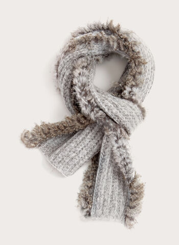 Fur Trim Knit Scarf, , hi-res