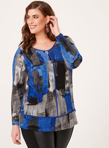 Abstract Print Knit Tunic, , hi-res