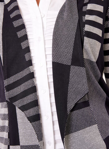 Geometric Print Open Front Cardigan , , hi-res