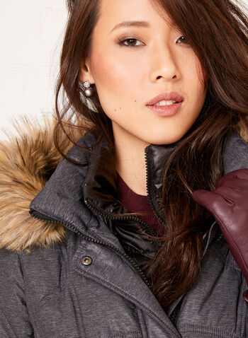 Removable Faux Fur Quilted Coat , , hi-res