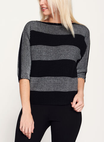 3/4 Sleeve Stripe Print Double Knit Sweater , , hi-res