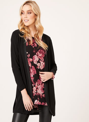 Long Open Front Cardigan, , hi-res