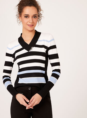 Lurex Stripe Knit Sweater, White, hi-res