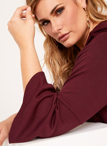 Linea Domani - Bell Sleeve Ponte Top , Brown, hi-res