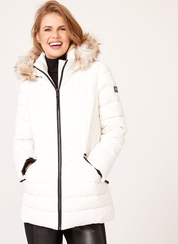 Novelti - Faux Fur Trim Quilted Down Coat, , hi-res