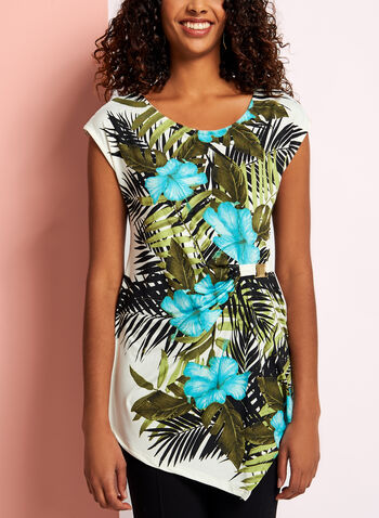 Tropical Print Asymmetric Top, , hi-res