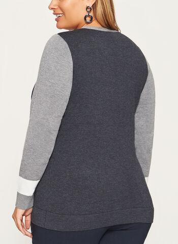Pointelle Detail Button Trim Sweater, , hi-res