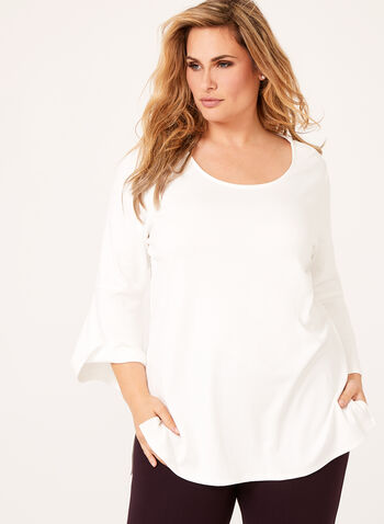 Linea Domani - Bell Sleeve Ponte Top , Off White, hi-res