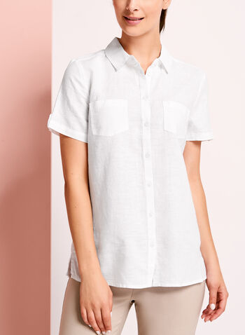 Short Sleeve Linen Button Down Shirt, , hi-res